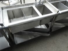 *Back of Bar Insulated Segregated Sink Unit and Waste Sink with Undershelf and Bottle Holder