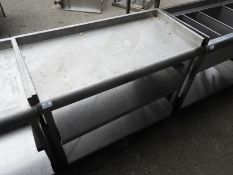 *Back of Bar Stainless Steel Preparation Table with Upstand to Rear and Sides, and Two Undershelves