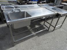 *Custom Made Stainless Steel Sink Unit with Right Hand Drainer 158x55cm