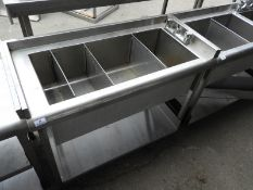*Back of Bar Insulated Stainless Steel Segregated Sink Unit 100x50cm