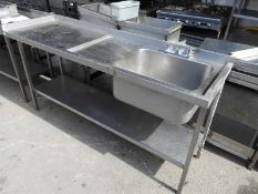 *Stainless Steel Commercial Sink Unit with Left Hand Drainer, Undershelf and Upstand