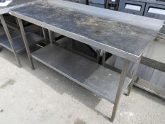 *Stainless Steel Preparation Table with Upstand to Rear, and Undershelf 150x60cm