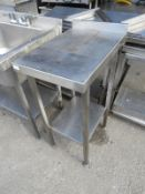 *Stainless Steel Preparation Table Infill Unit with Upstand to Rear, and Undershelf