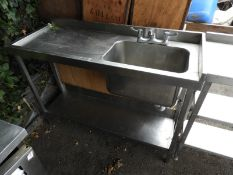 *Stainless Steel Commercial Sink Unit with Left Hand Drainer, Undershelf and Pillar Taps