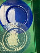 29 x blue glass charge plate 13inch Collection From Waltham Abbey - EN9 1FE on 19th and 20th May 9am