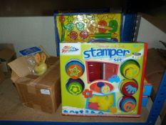 *Box of Soft Vinyl Squeaky Toys, Sponge & Ink Stam