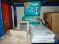 *3 Packs of Pampers, 2 Packs of Baby Bags, and a T
