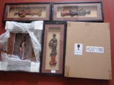 *5 Framed Ethnic Figurines