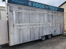20ft Twin Axle Fish and chip trailer containing: 3 pan range, 4ft griddle, pop fridge, 2 x water bo