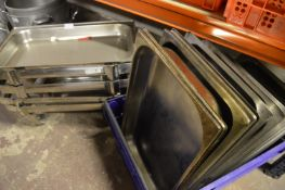 *4 Chaffer S/S Stands and 12 S/S Food Trays