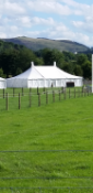30ft x 50ft traditional marquee complete with aluminium Kings and ridge pole ropes and window walls