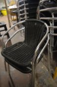 8 Aluminium Framed Woven Plastic Cafe Chairs