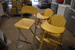 2 Child's Folding Highchairs, and a Folding Stool