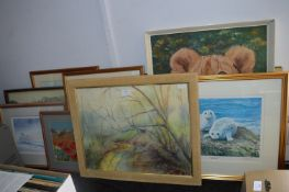 Framed Pictures and Prints Including Watercolour L