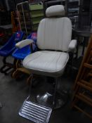 * premium leather barbers style chair - fully adjustable - with head rest and foot plate