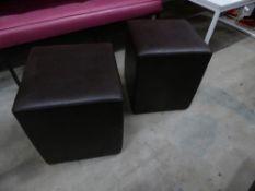 * 4 x brown faux leather pouffe's
