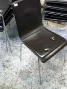 * 14 x brown faux leather café chairs - stackable - with chrome legs