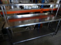 * S/S prepbench with upstand and undershelf with over shelf. 1800w x 610d x 135h