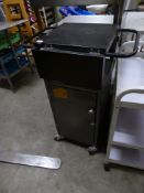 * grey cash float trolley - with under cupboard and fold out top.