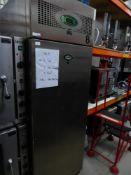 * Fosters S/S upright fridge on castors. 700w x 820d x 2060h