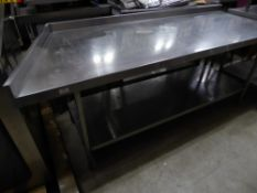* S/S prep bench with undershelf and upstand to rear and left - left side on angle. 2000 - 1730w x