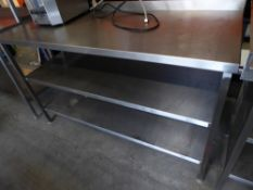 * S/S prep bench with upstand and 2 undershelves. 150w x 600d x 930h