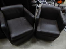* 2 x brown leather easy chairs
