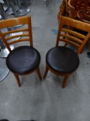 * 4 x wooden chairs with brown leather seats