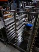* S/S rack with 18 shelves on castors. 820w x 560d x 1380h