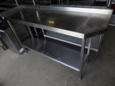 * S/S prep bench with upstand to the rear and right and undershelf - small angled cut out to right