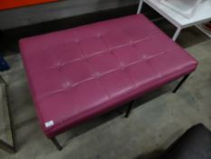 * pink faux leather bench seat. 1200w x 800d x 430h