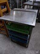 * S/S right hand feed table for a pass through dishwasher - with rack under to hold dishwasher trays