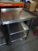 * S/S prepbench with upsand to 3 sides and 2 undershelves. 700w x 630d x 970h