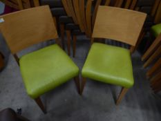 * 12 x wooden chairs with lime green seats