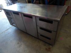 * Foster 2 drawer + 3 drawer bench top chiller. 1850w x 700d x 850h