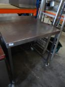 * S/S prepbench with upstand on castors - ideal for over applience. 800w x 700d x 960h