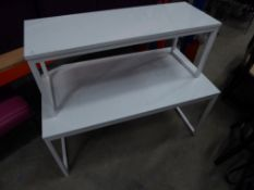 * 2 x white tables with metal frames. 1100w x 600d x 530h and 1000w x 360d x 400h