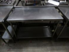 * S/S prep bench with up stand and under shelf. 1200w x 600d x 930h