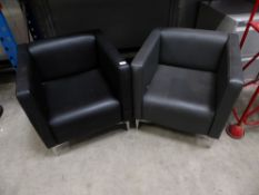 * 2 x black and grey leather easy chairs