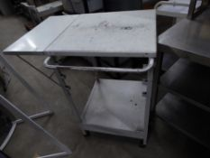 * white trolley on castors with pop up side ideal for clothing store or similar