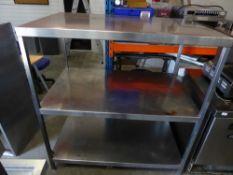 * S/S 3 tier shelf unit. 1300w x 790d x 1400h