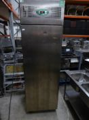 * Fosters S/S upright freezer on castors - working (ex tall). 700w x 900d x 2270h