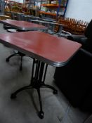 * 2 x diner tables with red tops. 600w x 600d x 740h