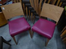 * 8 x wooden chairs with pink/purple seats