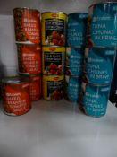 * 13 x tins - baked beans, tom sauce and tuna