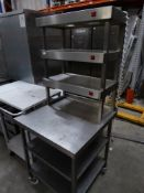* S/S service bench - with 3 heated gantry's above and 2 shelves underneath - on castors. 730w x