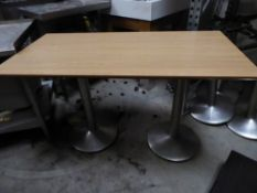 * 2 x rectancgle tables with double pedestal bases and wood effect tops. 1200w x 600d x 730h