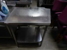 * S/S prep bench with undershelf - right side on angle - 2 cut outs to rear edge. 760-990w x 740d
