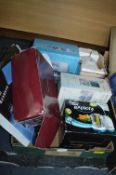 Box of Electrical Goods Including Mini Sewing mach