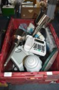 Box of Electrical Goods; Portable TV, Telephones,